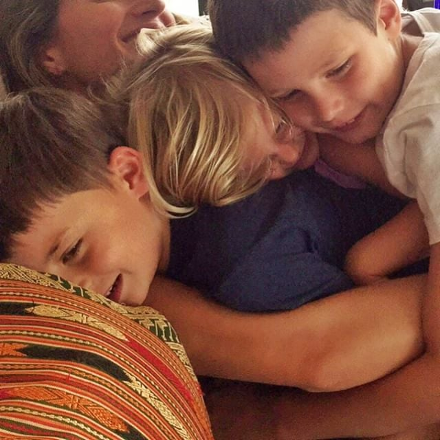 """There are plenty of seriously cute celebrity families, but Tom Brady and Gisele Bündchen are up there toward the top of the list. With three adorable kids — Jack, Benjamin, and Vivian — between them and lots of adventures under their belt, they have so many shareable moments. On Saturday, Gisele sent a sweet birthday message on Instagram to Jack, who turned 8 years old. She shared a precious snap of all her kids embracing her with a sweet hug, writing, """"8 years ago today a little angel was born. Happy birthday to the sweetest bigger brother in the world ! We love you so much peanut. Thank you for bringing so much joy into our lives."""" Gisele's Instagram account is full of adorable pictures of her family, and while many of them feature photos taken from behind, à la Beyoncé, they're no less post-worthy. Read through to see the all-star family's cutest social snaps, then check out these other famous mums you should be following on Instagram."""