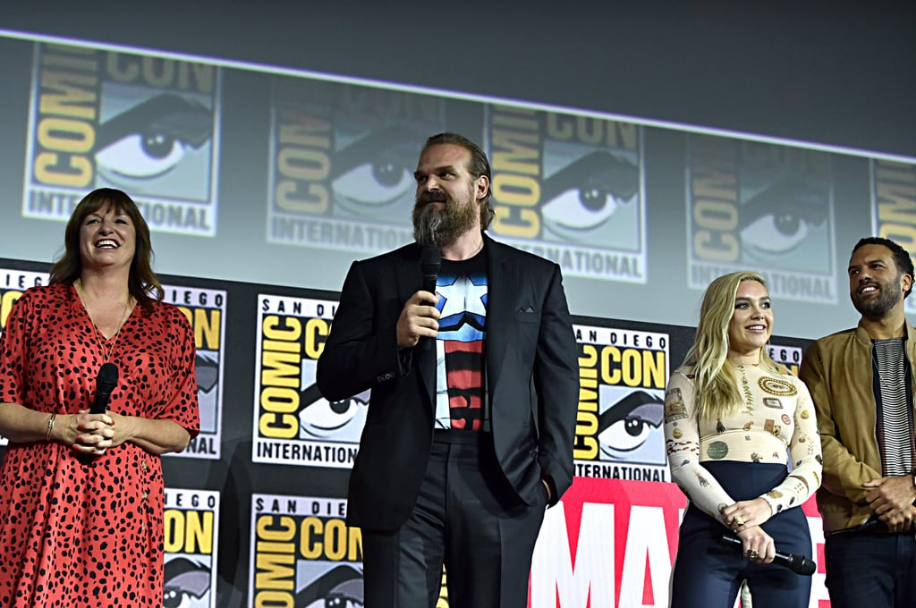 Pictured: Cate Shortland, David Harbour, Florence Pugh, and O-T Fagbenle at San Diego Comic-Con.