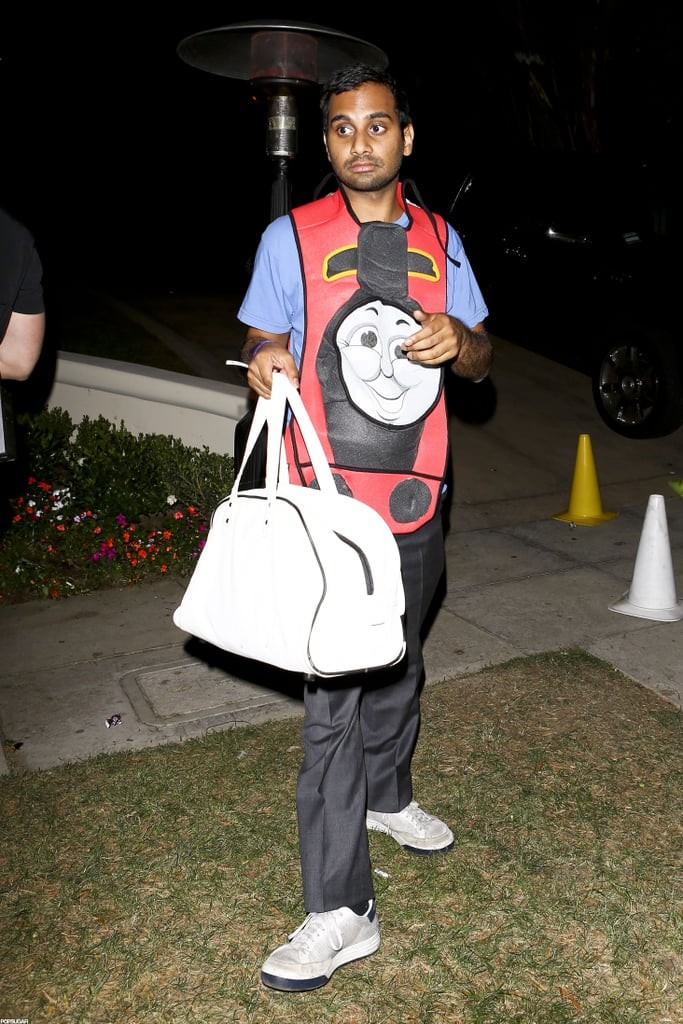Aziz Ansari wore a Thomas the Tank Engine shirt to a party in LA on Friday.