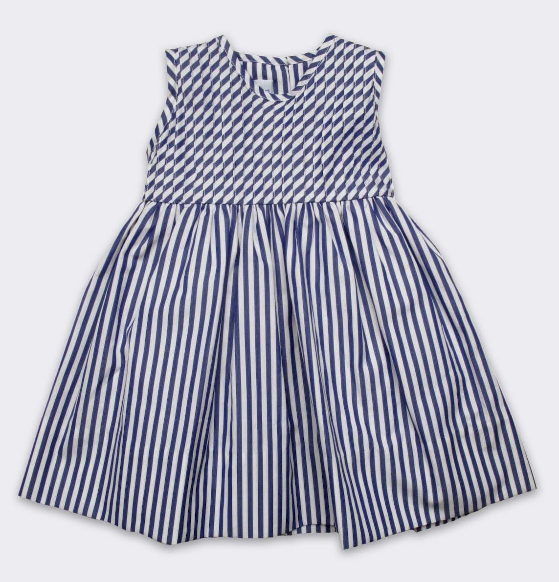 Baby CZ Striped Pintuck Dress