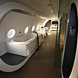 The interior of the plane was converted in to a hotel suite meant for two and is complete with a hot tub, infared sauna, minibar, and plenty of other high-tech amenities.