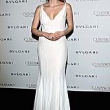 Jessica Chastain perfected effortless glamour in this stunning white gown at Bulgari's cocktail party for Cleopatra.