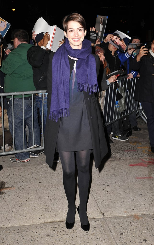 Anne Hathaway arrived at The Daily Show.