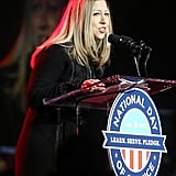 Chelsea Clinton, an honorary chair for the National Day of Service, spoke to volunteers.