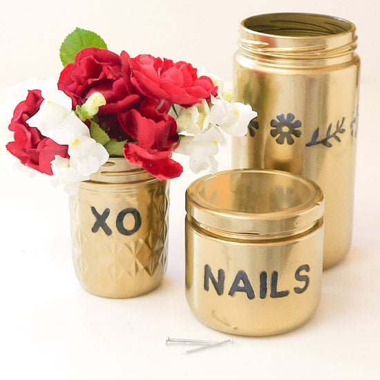 DIY Gold Spray-Painted Jars