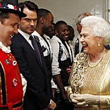 The queen laughed at the Diamond Jubilee Concert at Buckingham Palace.
