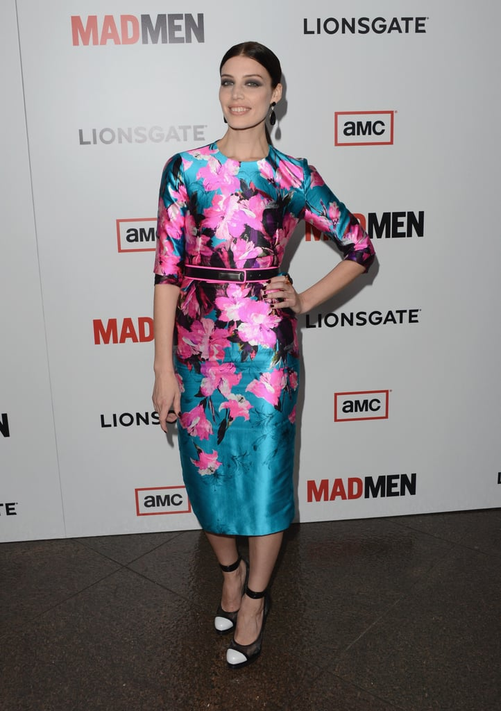 Jessica Paré brought a bold floral-print Prabal Gurung sheath to the event, which she paired with black-and-white cap-toe heels.