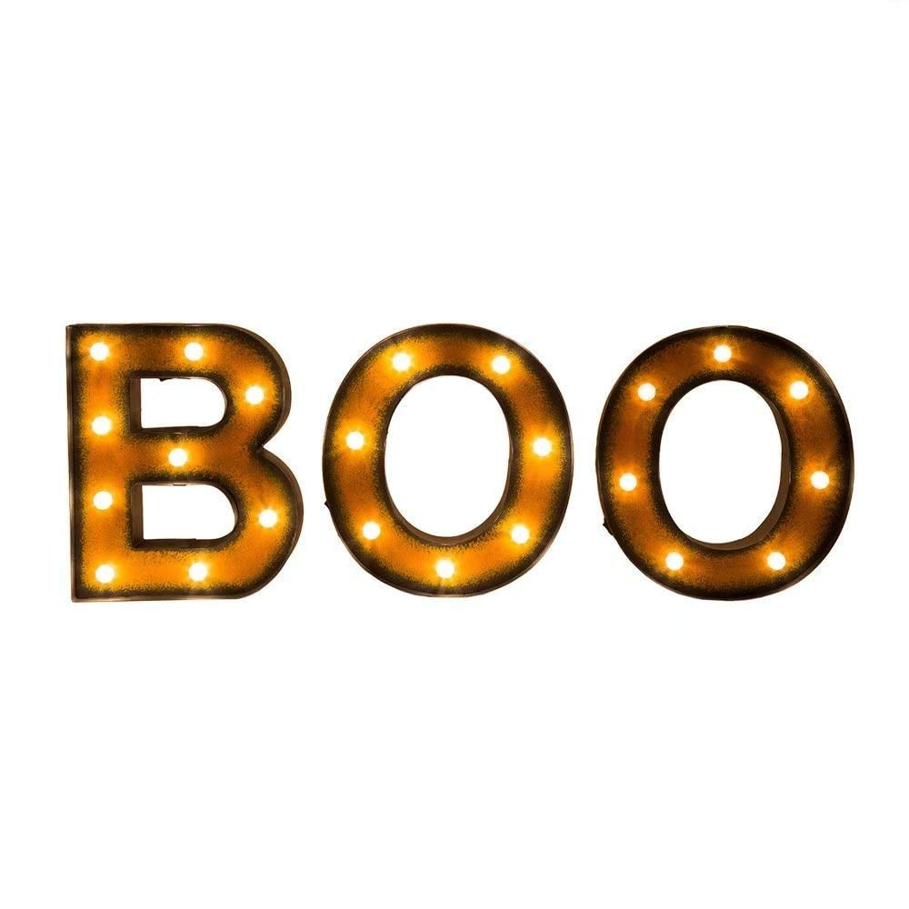 Collections Etc Lighted Halloween Boo Sign