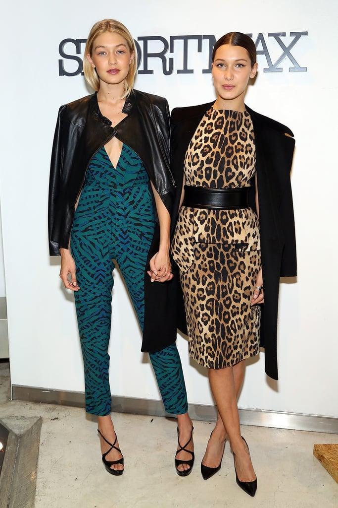 أطلّت جيجي بتصميم ذو طبعات تتباين مع طبعات ثوب شقيقتها بيلا في حفلة Sportmax وTeen Vogue عام 2014.