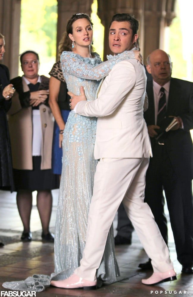 Blair Waldorf S Wedding Dress With Chuck Bass Pictures Popsugar