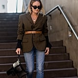 Add shape to a boxy, neutral jacket.