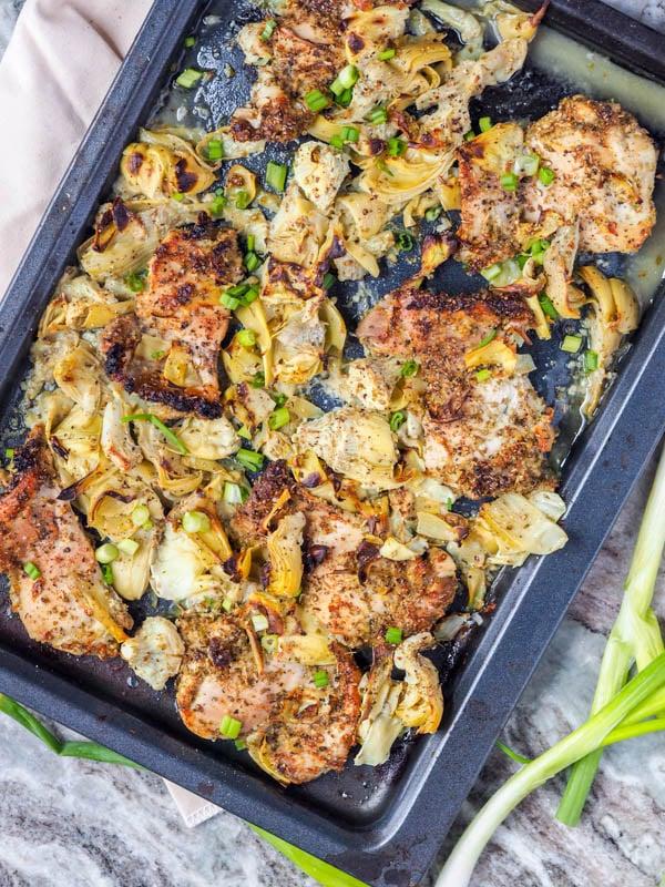 Artichoke and Garlic Broiled Chicken