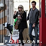 Emma Stone waved after getting breakfast with her boyfriend, Andrew Garfield, in NYC.