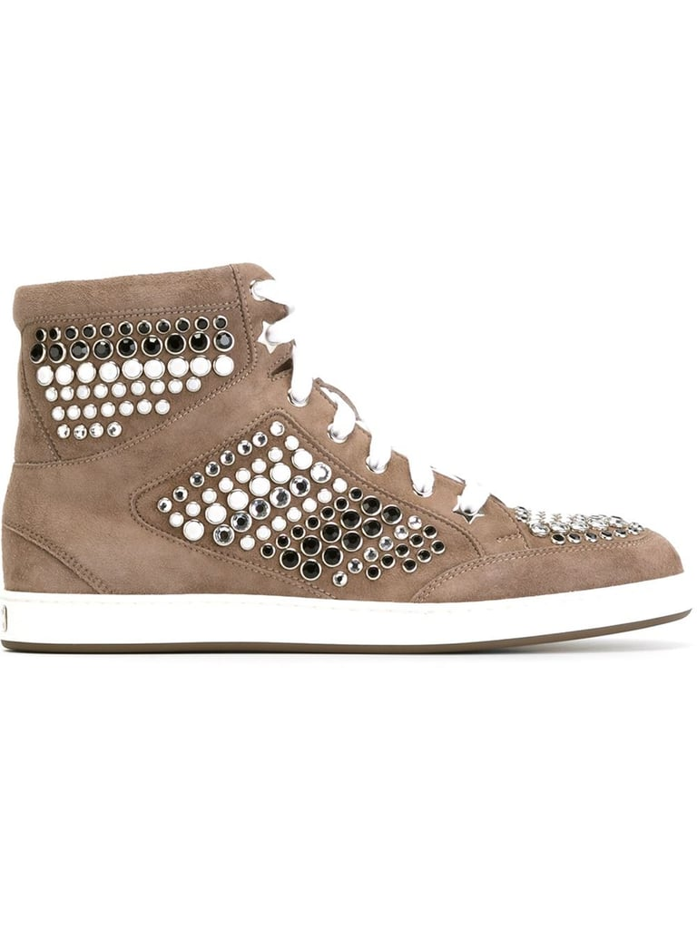 "We're betting these glimmering Jimmy Choo ""Tokyo"" high-top sneakers ($650) could even turn heel addicts into sneaker converts in no time."