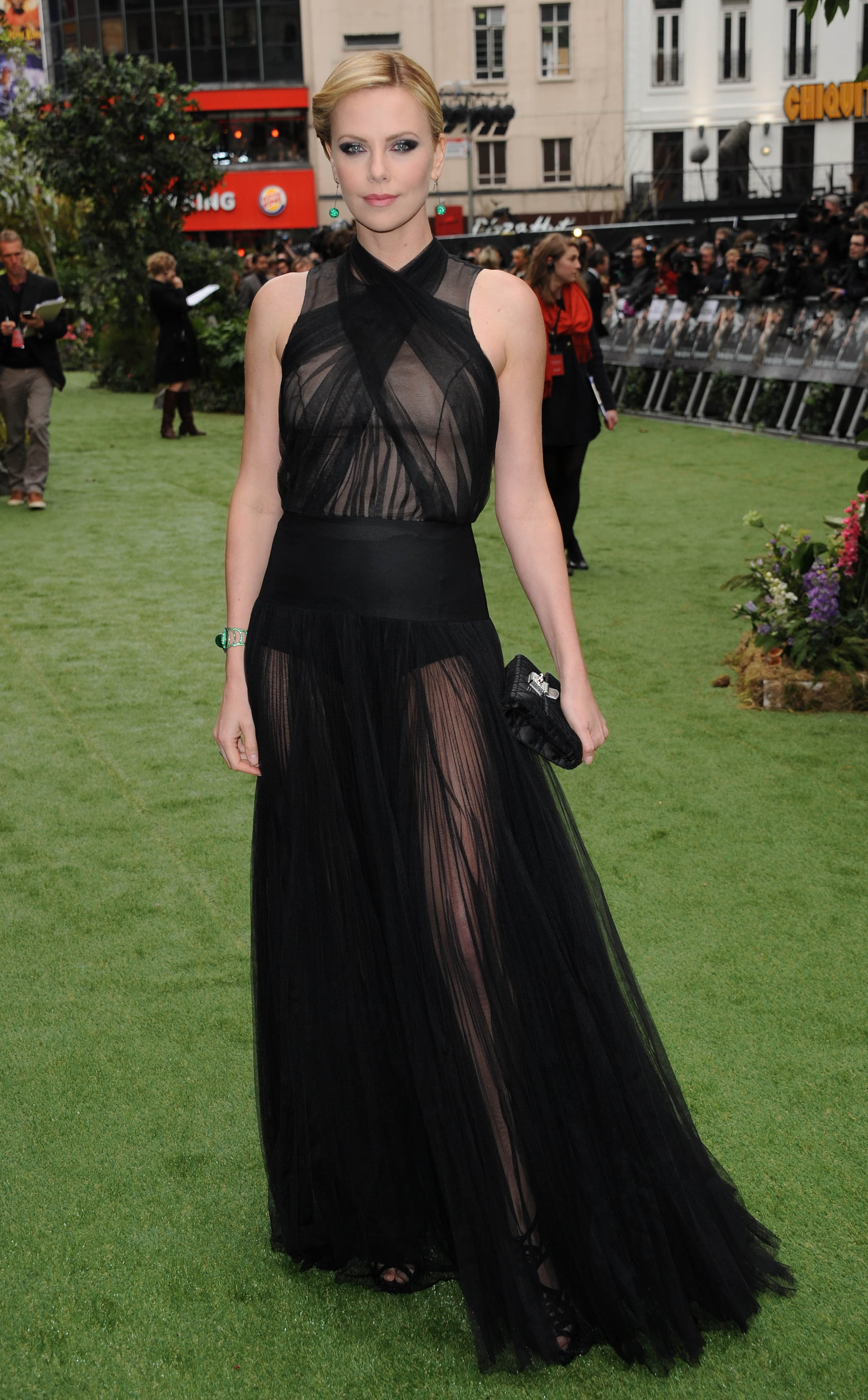 Charlize stunned in a gauzy, barely-there Dior creation at the Snow White and the Huntsman UK premiere.