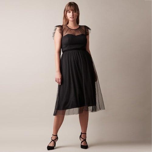 JW Jason Wu Illusion Mesh Midi Dress