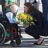 Kate Middleton shared an especially sweet moment with a little boy before departing from the Yellowknife airport in Canada in July 2011.