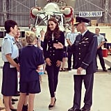 Kate greeted families at an air force base in New Zealand. Source: Instagram user clarencehouse