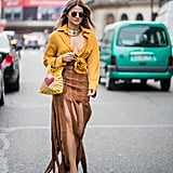 Style a Yellow Blouse With a Suede Skirt