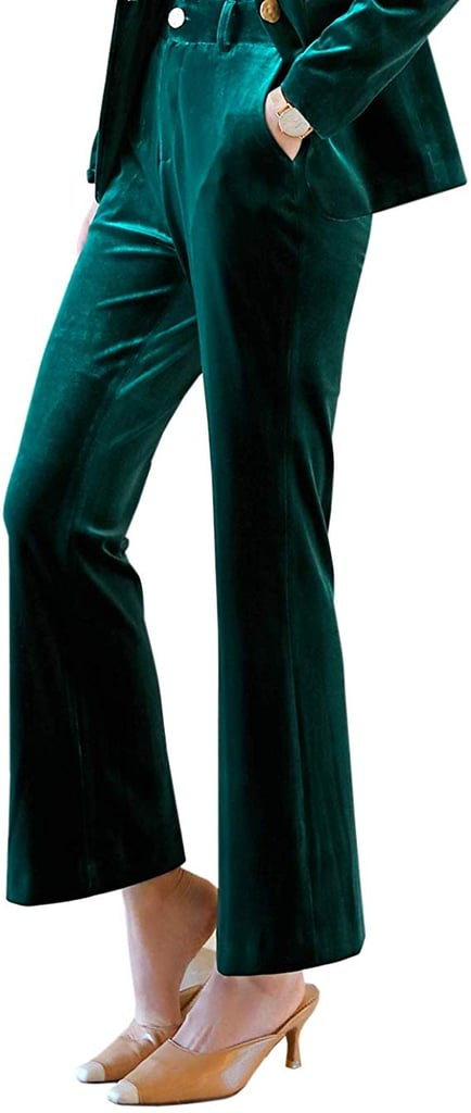 HeLov Green High0Waist Velvet Pants