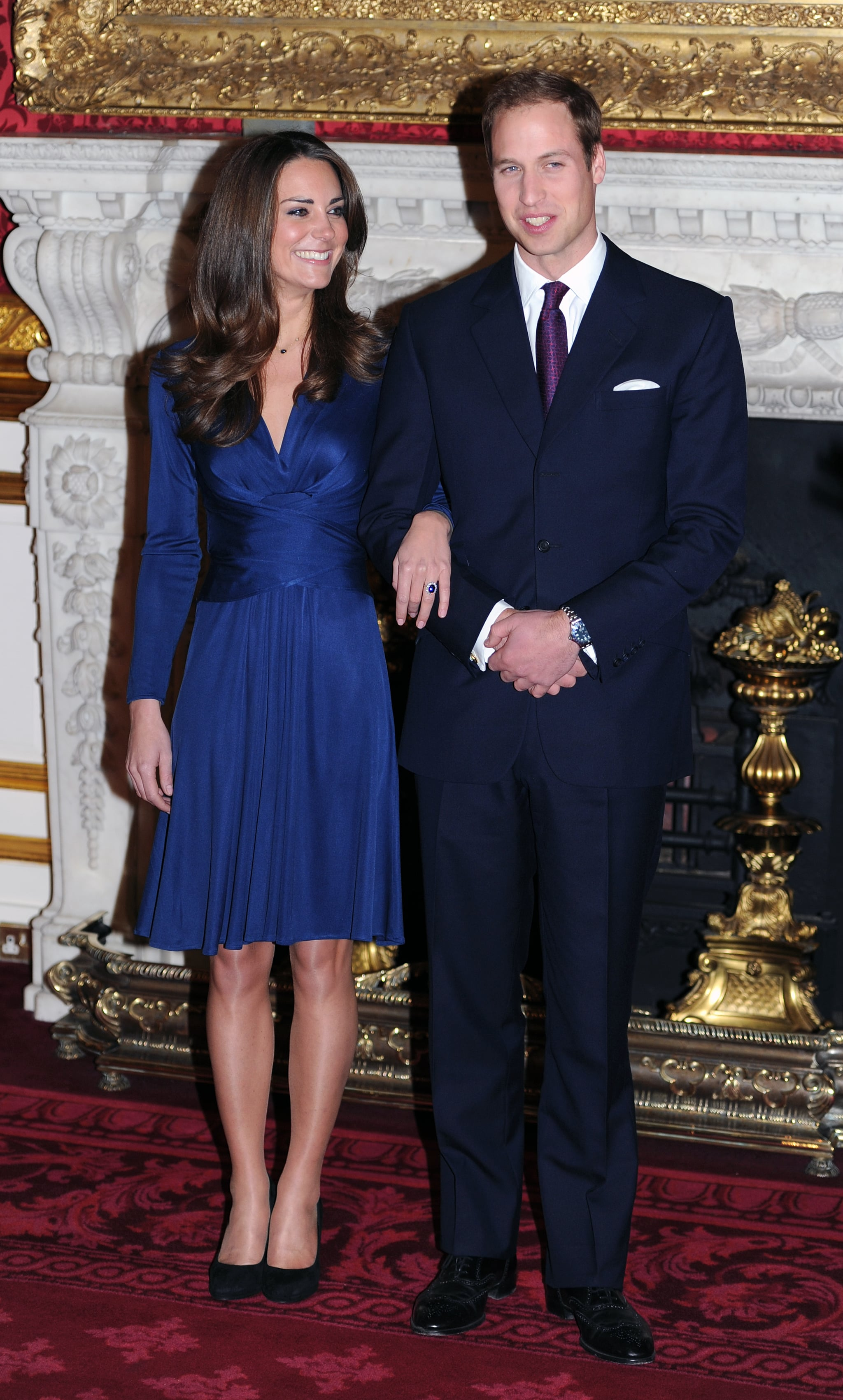 LONDON, ENGLAND - NOVEMBER 16: Prince William and Catherine Middleton pose for photographs in the State Apartments of St James Palace as they announce their engagement on November 16, 2010 in London, England. (Photo by Anwar Hussein/Getty Images)