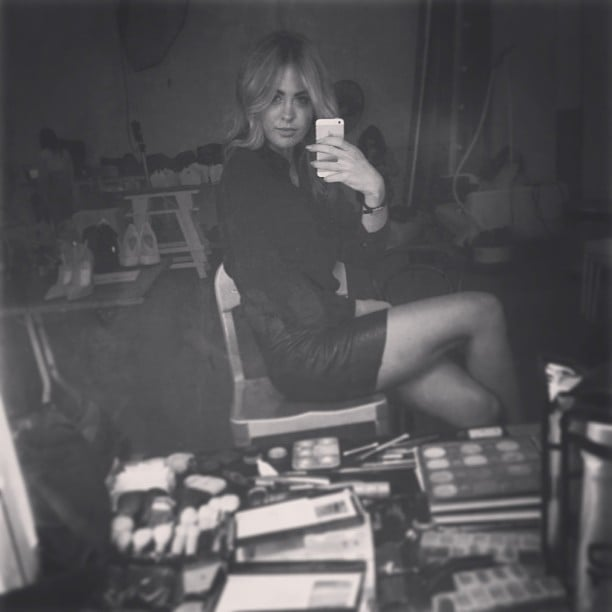 Jesinta Campbell sat ready in the makeup chair ahead of a photoshoot. Source: Facebook user Jesinta Campbell
