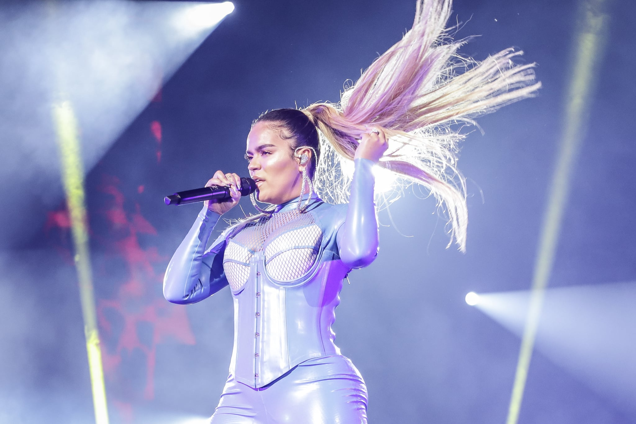 MIAMI, FL - OCTOBER 04:  Karol G performs during Gloria Trevi's Diosa de La Noche Tour at American Airlines Arena on October 4, 2019 in Miami, Florida.  (Photo by John Parra/Getty Images)