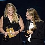 Karen Baker Landers and Per Hallberg accepted their awards at the 2013 Oscars.