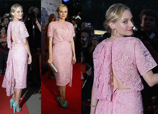 Pictures of Diane Kruger at Berlin Lily Sometimes Premiere wearing Pink Lace No. 21 Fall 2011 dress and Brian Atwood Heels