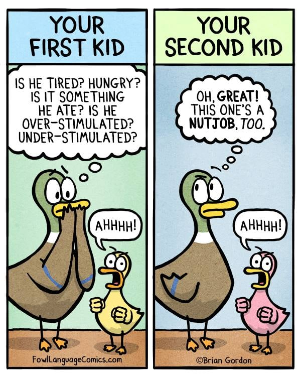 "Brian Gordon — a cartoonist and dad of two — has been making fun of being a parent since he became one. In an attempt to keep himself sane and bond with other parents, he shamelessly started creating funny-because-it's-true parenting comics — and we can't stop laughing at them.  As soon as he brought his first child home from the hospital, Brian convinced himself that he was the worst parent ever, that is, until he started sharing his insecurities with other parents, who completely identified with his struggles. From there on, he decided to start documenting anything and everything about parenting — from being exhausted to being spit-up on for the hundredth time — through cartoons, and it's now his favorite thing to do.  ""Being a parent can be incredibly frustrating, and I think sharing those frustrations and laughing with other parents is the best thing we can do to keep each other sane,"" Brian told us. And keeping us all sane, he is. His comics have been so successful in the parenting world that he was able to compile his comics into his first book, which should undoubtedly be centered among the pile of kid crap on every parent's coffee table.   Read through to see some of Brian's hilarious comics, buy his book, Fowl Language: Welcome to Parenting ($12), become a patron of his work to see behind-the-scenes strips, shop his designs at Society6 and Zazzle, and follow him on Facebook to see his new comics.       Related:                                                                                                           A Mom Created Comics to Show How Self-Isolation Is Going For Her Family, and Yep, Relatable!"