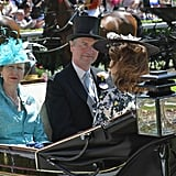 Eugenie's hat sat low at the front, and high at the back.