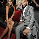 Chrissy Teigen, Cyndi Lauper, and John Legend at the 2020 Sony Music Grammys Afterparty