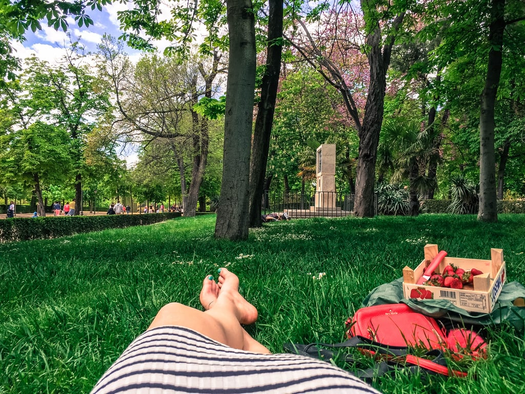 """Yearning for even more serenity? Head over to El Retiro Park. Also known as the """"the green lungs of the city,"""" this oasis is home to over 15,000 trees and over 300 acres. As you can imagine, there is an abundance of space to sit back, relax, and rest a while. Or, in my case, eat an entire crate of strawberries . . ."""
