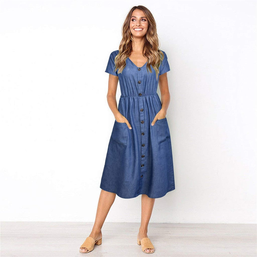 e0b15ff278cd Button Down Denim Midi Dress - Aztec Stone and Reclamations