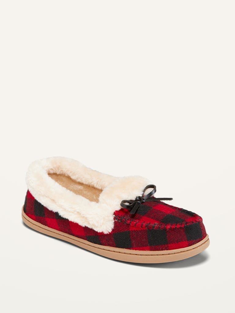Soft-Brushed Faux-Fur Lined Moccasin Slippers