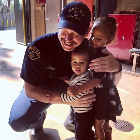 Chrissy Teigen Son Miles Stephens Meets a Firefighter Photo