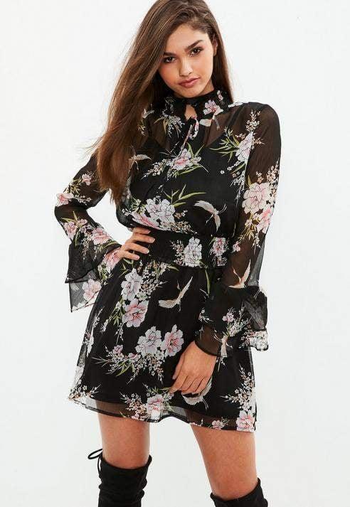 Missguided Black High Neck Floral Chiffon Skater Dress