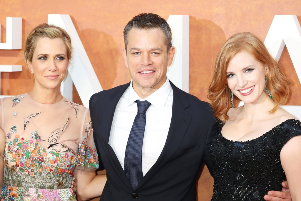 """Matt Damon, Kate Mara, Kristen Wiig, and Jessica Chastain all hit the red carpet for the London premiere of The Martian on Thursday. The group got together to show off the space drama after the film recieved rave reviews during the Toronto International Film Festival earlier this month. Matt brought his wife, Luciana, to that red carpet, but this time it was all about his leading ladies.   Matt was all smiles despite recently getting into hot water over comments about diversity that aired during the fourth season of HBO's Project Greenlight. He later apologized saying, """"My comments were part of a much broader conversation about diversity in Hollywood and the fundamental nature of Project Greenlight, which did not make the show. I am sorry that they offended some people, but, at the very least, I am happy that they started a conversation about diversity in Hollywood."""""""