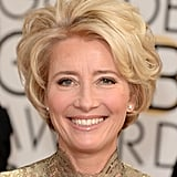 Emma Thompson went the au naturel makeup route but didn't skimp on her perfectly tousled curls.