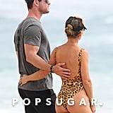 Chris Hemsworth and Elsa Pataky Kissing Beach Pictures 2018