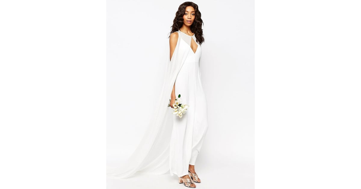 Asos Bridal Jumpsuit With Detachable Cape ($255)