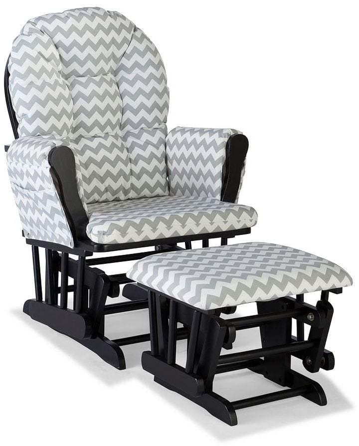 Stork Craft Chevron Hoop Custom Glider Chair amd Ottoman Set