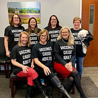 Pediatrician Office Staff Wears Pro-Vaccine Shirts
