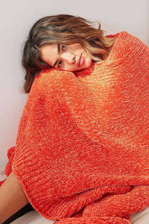 Urban Outfitters Chenille Sweater Throw Blanket