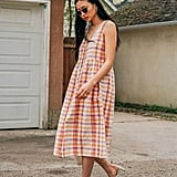 UO Liz Plaid Button-Front Babydoll Midi Dress