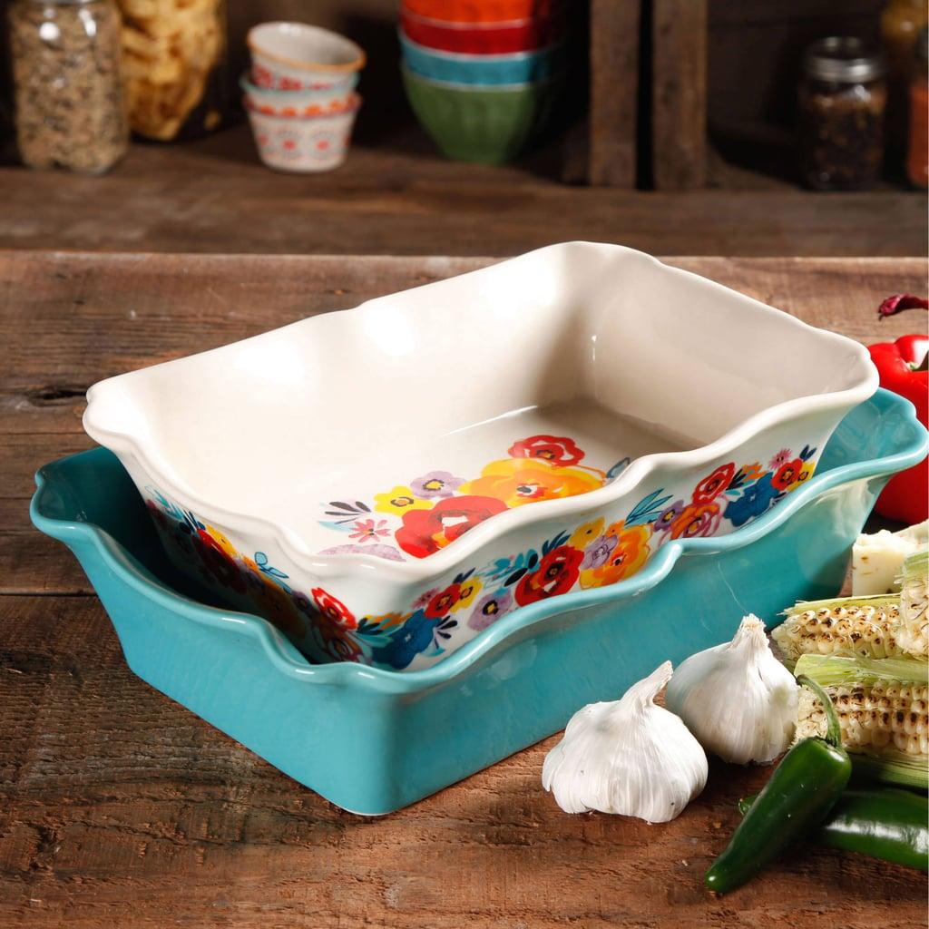 Flea Market Two-Piece Decorated Rectangular Ruffle Top Ceramic Bakeware Set