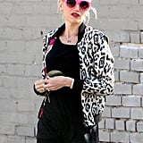 Gwen Stefani pulled on a leopard-print jacket in Hollywood.