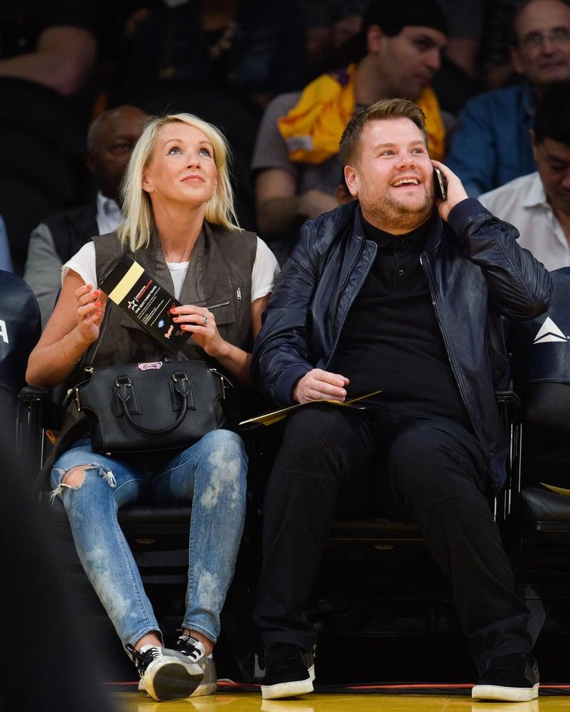 James Corden and Wife Julia Carey at Basketball Game