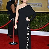 Homeland star Claire Danes's black one-sleeved Givenchy gown and dark berry lip brought major drama to the red carpet.