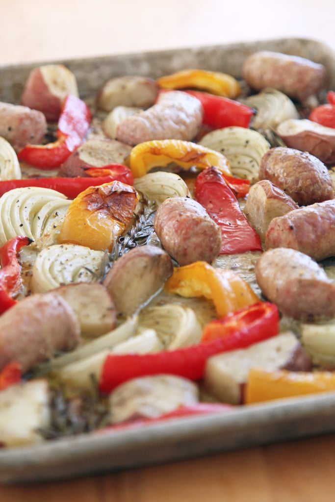 One-Pan Roasted Sausages, Peppers, Potatoes, and Onions